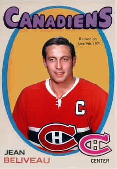 Jean Beliveau Montreal Canadiens O Pee Chee fantasy card Montreal Canadiens, Hockey Games, Hockey Players, Ice Hockey, Hockey Pictures, Old Montreal, Good Old Times, Sports Figures, Nfl Fans
