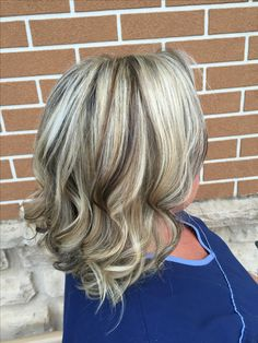 Blonde  Highlights  Low lights  Cool blonde  Platinum blonde  Long bob  Redken  Chocolate brown