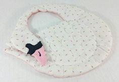 Pink Swan Quilted Baby Bib Handmade