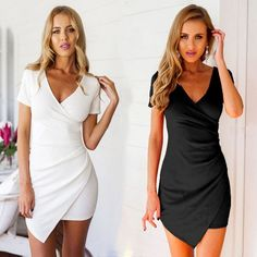 I like this dress. Buy here: http://www.wholesalebuying.com/product/new-ladies-women-sexy-v-neck-short-sleeve-draped-asymmetric-hem-bodycon-slim-casual-party-dress-157720?utm_source=pin&utm_medium=cpc&utm_campaign=ZYWB99