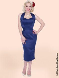 1950s Halterneck Pencil Blueberry Duchess Dress from Vivien of Holloway