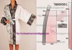 Black and white dressing gown pattern Diy Clothing, Sewing Clothes, Clothing Patterns, Dress Patterns, Sewing Patterns, Motif Kimono, Kimono Pattern, Gown Pattern, Lingerie Couture
