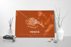 Gallery Wrapped Map Canvas of Venice Italy - Modern Burnt - Venice Map Art