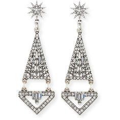 Lulu Frost Electra Crystal Statement Earrings ($295) ❤ liked on Polyvore featuring jewelry, earrings, crystal dangle earrings, hinged earrings, lulu frost jewelry, baguette earrings and dangling jewelry