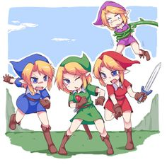 The Legend of Zelda: Four Swords artwork by Silver Bell.<<<PUT ON SOME TIGHTS DO YOU WANT TO ATTRACT WEIRD PEOPLE!!!!!!!>>>VIO NYUUUU