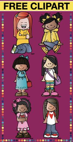 FREE- Girls clip Art In this set you will find 6 different girls in png format Classroom Clipart, School Clipart, Free Clipart For Teachers, Teachers Pay Teachers Freebies, Teacher Freebies, Will Turner, Girl Clipart, Cliparts Free, Teaching Biology