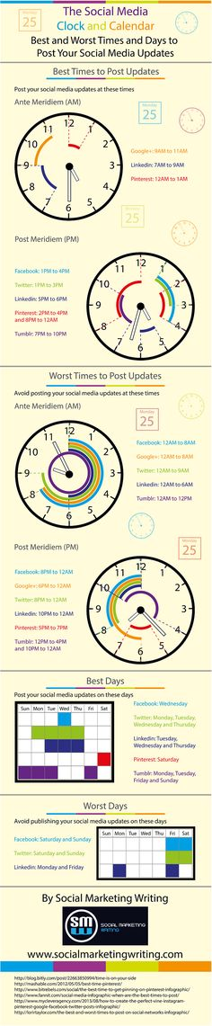 Educational infographic & Data The Social Media: Clock and Calendar. Best and Worst Times and Days to Porst You. Image Description The Social Media: Social Marketing, Marketing Digital, Marketing Trends, Marketing En Internet, Inbound Marketing, Content Marketing, Online Marketing, Marketing Strategies, Business Marketing