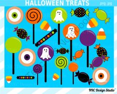 Halloween Treats Clip Art for Personal and Commercial Use from NRC Design Studio1 on TeachersNotebook.com -  (22 pages)  - Instant download Halloween treats clipart for personal and commercial use.