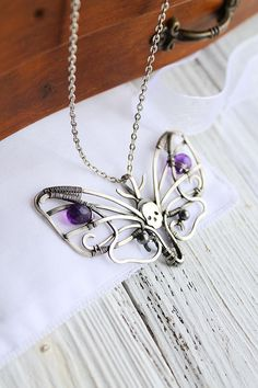 Amethyst Death's-head hawkmoth necklace - Multi-stone silver Butterfly necklace - Skull necklace - luxury classic jewelry