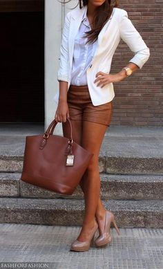 Woman poses in brown faux leather shorts, crisp white shirt and jacket, a brown satchel and nude pumps.. DIY the look yourself: http://mjtrends.com/pins.php?name=faux-leather-for-shorts