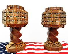 Wondering what the folk you're looking at? Well I'll tell ya! Vintage Folk Art lamps comprised of (you guessed it?) Popsicle sticks marbles  seashells. Totally different. Totally beautiful. Totally weird. Totally smitten! Happy Folking Friday y'all.