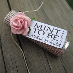 "Bridal shower wedding favor - ""Mint to be"" favors with personalized tag large orders only $1.50 per"
