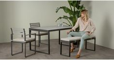 Catania outdoor 6 seater dining table, polywood | made.com