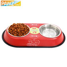 Free Shipping Stainless Steel Big Double Bowl Feeder Dog Drinking Easy Take Food Water Feeder Bowl Cat Foods Bowl 2Colors