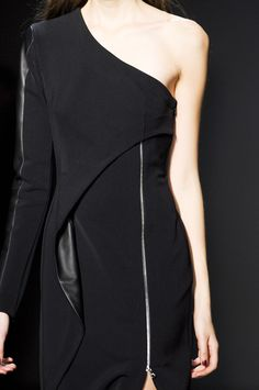 Asymmetric Dress - sleek black fashion details // Yigal Azrouel Fall 2013