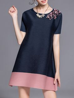 Dark Blue Casual Appliqued Crew Neck Mini Dress