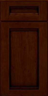 KraftMaid Cabinets -Square Recessed Panel - Veneer (SNC) Cherry in Chocolate w/Ebony Glaze from waybuild