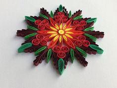 Snowflake Poinsettia Red Green Christmas Tree Decoration