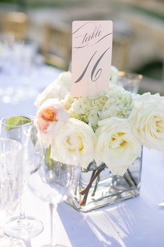 Calligraphed Table Numbers in Floral Centerpiece