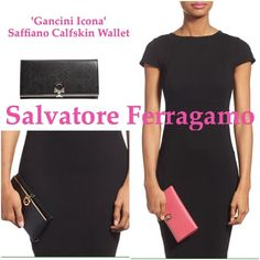 'Gancini Icona' Saffiano Calfskin Ferragamo wallet Gently used. Signature Saffiano texture lends refined elegance to an Italian leather accordion wallet detailed with a sleek clip closure. Clip closure. Interior zip and currency pockets; seven card slots; ID window. Lined. Italian calfskin leather. Made in Italy. Designer Handbags. Salvatore Ferragamo Bags Wallets
