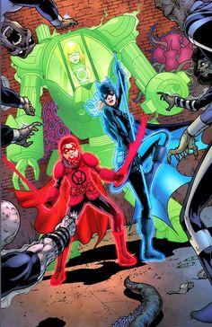 "barbaragordonshusband: "" Green Lantern Babs, Blue Lantern Stephanie Brown, and Red Lantern Damian Wayne from Batgirl "" Batgirl, Nightwing, Supergirl, Superhero Characters, Dc Comics Characters, Comic Books Art, Comic Art, Godzilla, Marvel E Dc"
