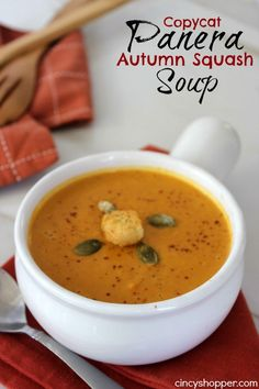 If you are needing a perfect fall soup recipe this Copycat Panera Autumn Squash Soup is going to be perfect. Soup during the fall is a staple in our househo Subbed milk. Quick to put together after cooking the squash. Vegetarian Recipes, Cooking Recipes, Healthy Recipes, Healthy Foods, Panera Autumn Squash Soup, Autumn Soup, Winter Soups, Le Diner, Soup And Sandwich
