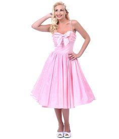 SALE! Unique Vintage Pink Seeing Stripes Swing Dress with Bow - Unique Vintage - Prom dresses, retro dresses, retro swimsuits.