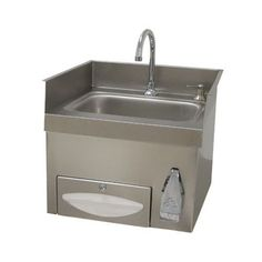 Advance Tabco 7-PS-43 Countertop Hand Sink with Deck Mount Faucet, Knee Valve Operation, Paper Towel Dispenser, and Soap Dispenser