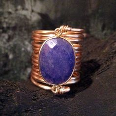Blue Sapphire Wire Wrap Ring