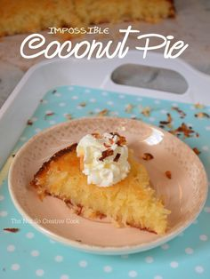 A pie that's impossibly easy to make and makes its own crust. It's creamy, custard-y and incredibly delicious! Top each slice with whipped cream and toasted coconuts – you are in … Fun Desserts, Dessert Recipes, Pie Recipes, Impossible Coconut Pie, Custard Slice, Red Velvet Whoopie Pies, Chocolate Ganache Tart, Grasshopper Pie, Boston Cream Pie