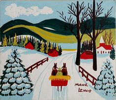 Canadian Modern Art - Country Lane - Maud Lewis note the snow on the trees Maudie Lewis, Primitive Painting, Horse Artwork, Naive Art, Canadian Artists, Outsider Art, Elementary Art, Halloween, Winter