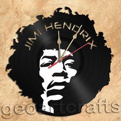 Wall Clock Jimi Hendrix Vinyl Record Clock by geoartcrafts on Etsy
