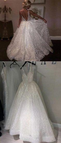 Sparkly Sequins A-Line V-back Popular Long Prom Dress, PD0616 #2019prom #prom #popular #promdresses #longpromdresses #cheappromdresses Big Prom Dresses, Sparkle Wedding Dresses, Sparkly Prom Dresses, Disney Prom Dresses, White Sparkly Dress, Fancy White Dresses, Long Glitter Dress, Bad Wedding Dresses, Cinderella Wedding Dresses