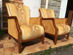 2 fauteuils Louis XVI merisier contemporain jacques leleu
