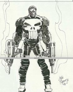 Punisher by John Romita Jr Comic Book Artists, Comic Book Characters, Comic Artist, Marvel Characters, Comic Books Art, Punisher Comics, John Romita Jr, Jr Art, Western Comics