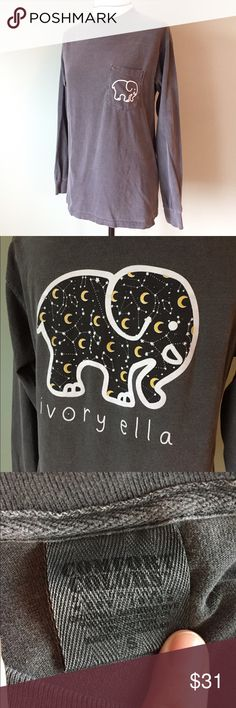 Ivory Ella limited edition Black Friday shirt Limited edition Ivory Ella Black Friday gray long sleeve shirt. Size small. Comfy and soft, only worn a time or two, no issues. Excellent condition. Gray weathered color with moons in the elephant. ivory ella Tops Tees - Long Sleeve