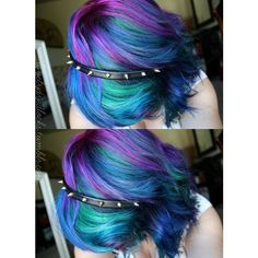 Purple blue mixed dyed hair ❤ liked on Polyvore featuring hair