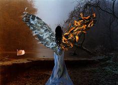 Foto Fantasy, Dark Fantasy Art, Angel Y Diablo, Photoshop Pics, Ange Demon, Angel And Devil, Evil Angel, Heaven And Hell, Poster Pictures