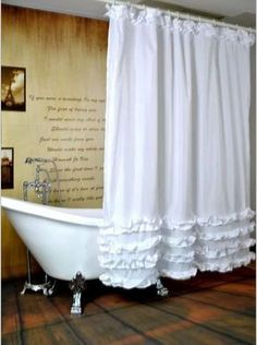 White Ruffled Princess Dress Shower Curtain Bathroom Waterproof Fabric 71 Inch