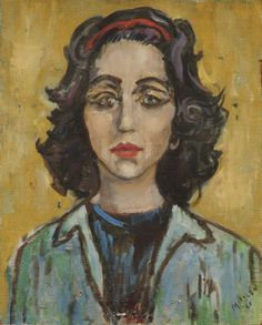 This piece is called Self Portrait, 1961 by Mary Polon.   (Formatting Painting 20 x 16 in, 51 x 40 cm)