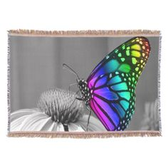 Gorgeous Floral Butterfly Throw Blanket