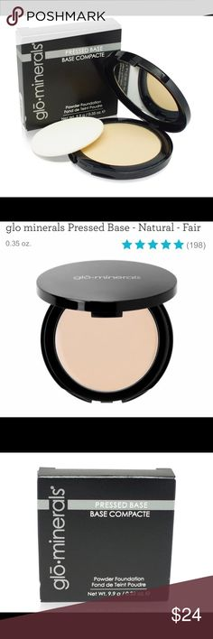 Glo Minerals powder foundation Glo minerals Pressed Base uses naturally pigmented minerals to help disguise blemishes, redness, dark spots and more. Vitamins A, C and E, plus green tea extract help protect skin against sun damage and other environmental stressors. With its fine, triple-milled formula, this pressed powder foundation allows you to achieve sheer to full coverage.  Free of parabens, fragrance, dyes and gluten Helps you achieve sheer to full coverage Provides a semi-matte finish…