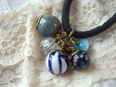 Hair Elastic Blue And White Color Ceramic Beads by KanaBeadsGarden, $10.00
