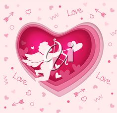 Vector cut out of paper pink heart with cupid. Romantic paper cut Valentine background. Holiday greeting card #1792813 | Clipart.com Valentines Day Clipart, Valentine Background, Holiday Greeting Cards, Cupid, Paper Cutting, Royalty Free Images, Clip Art, Romantic, Heart