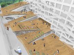 Conceptual Model Architecture, Architecture Site Plan, Library Architecture, Stairs Architecture, Conceptual Design, School Architecture, Landscape Stairs, Landscape And Urbanism, Ramp Design