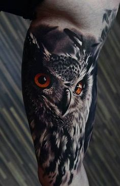 3D Owl Tattoo