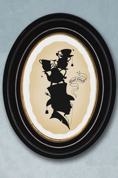 Earl Grey tea silhouette Victorian whimsey art by BarkingMadArts unframed on etsy $15