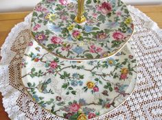 Antique english china plates cake stand by YorkshireTeaCupShop