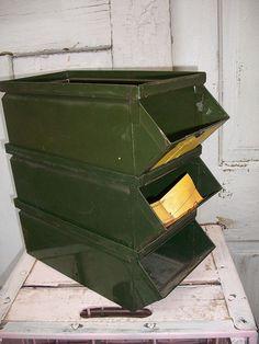 Vintage industrial stack able metal storage by AnitaSperoDesign, $40.00
