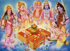 Sarve Shukhina Bhavantu Hindu God Brahma Vishnu and Mahesh ( Shiv / Shiva ) Laxmi Ganapati